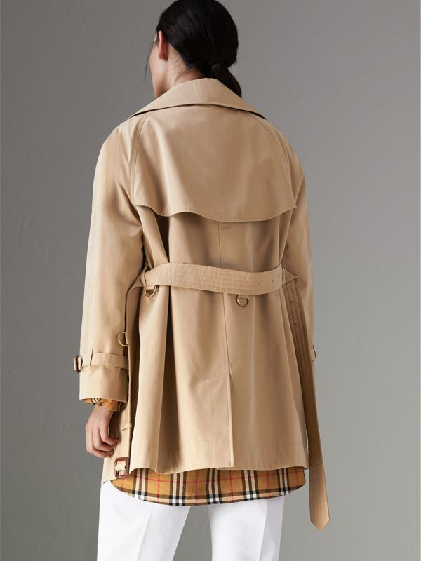 Exaggerated Collar Cotton Gabardine Trench Coat in Honey - Women | Burberry - cell image 2