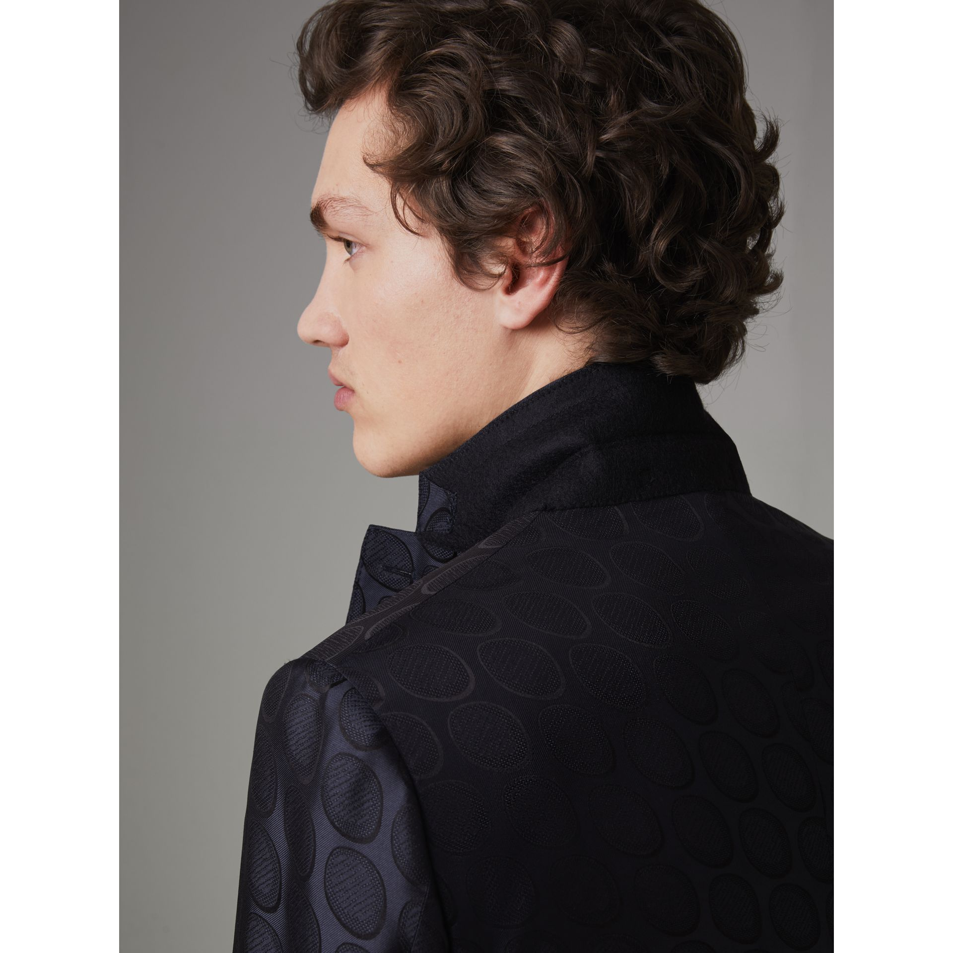 Soho Fit Spot Silk Evening Jacket in Midnight Blue - Men | Burberry - gallery image 4