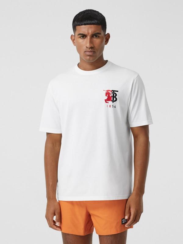 T-shirt en coton avec logo bicolore (Blanc) - Homme | Burberry - cell image 3