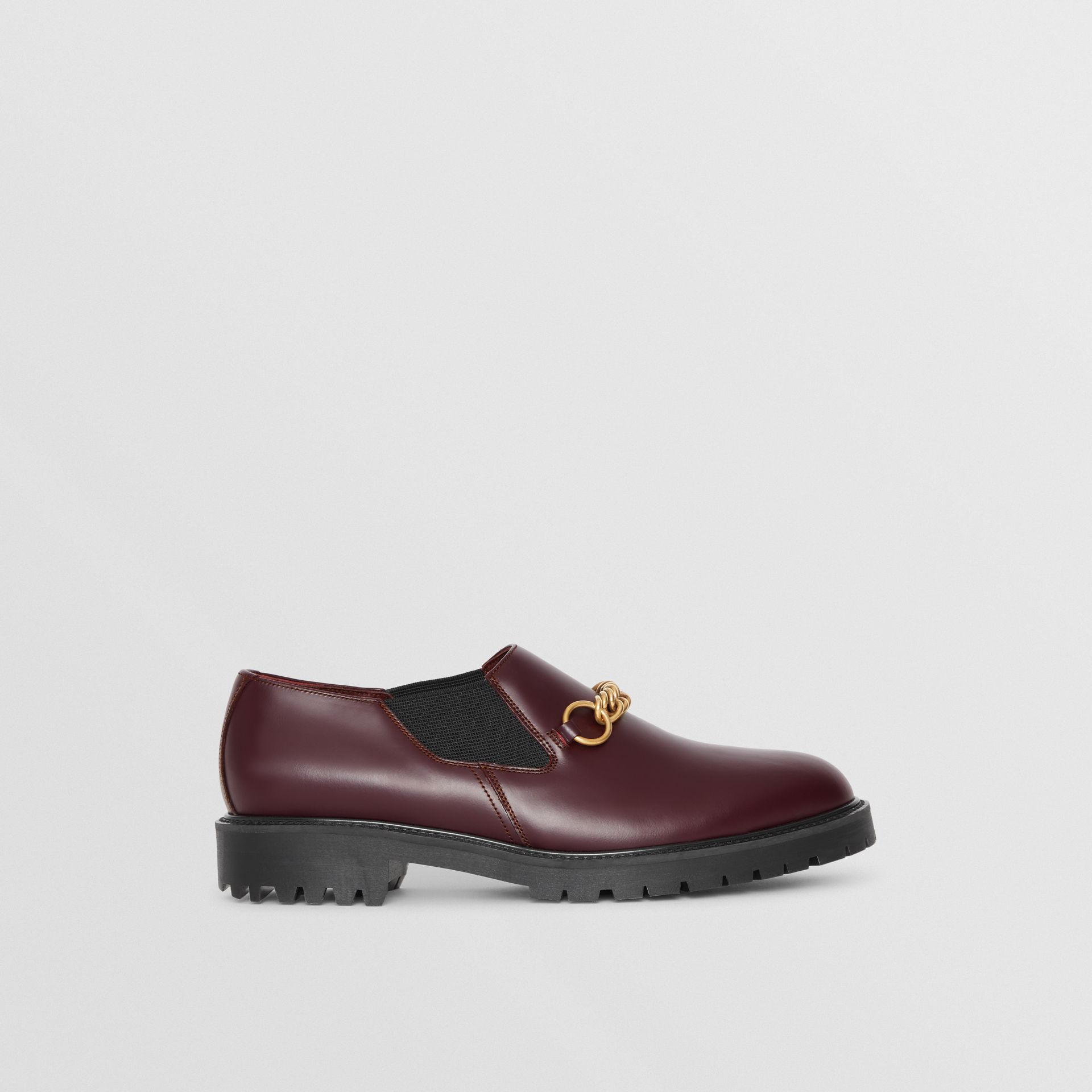 Link Detail Leather Shoe in Oxblood - Men | Burberry United Kingdom - gallery image 4