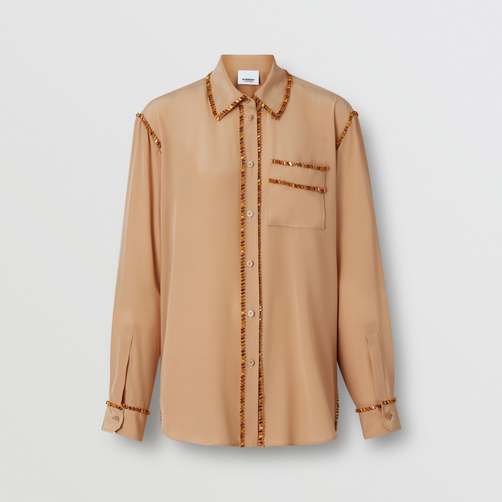 Crystal Detail Silk Oversized Shirt in Camel - Women | Burberry - gallery image 3