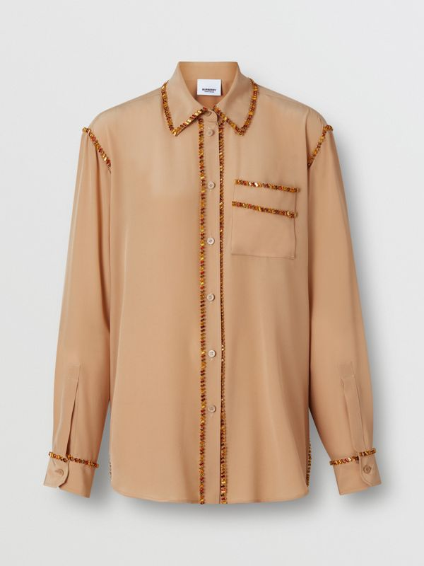 Crystal Detail Silk Oversized Shirt in Camel - Women | Burberry United Kingdom - cell image 3
