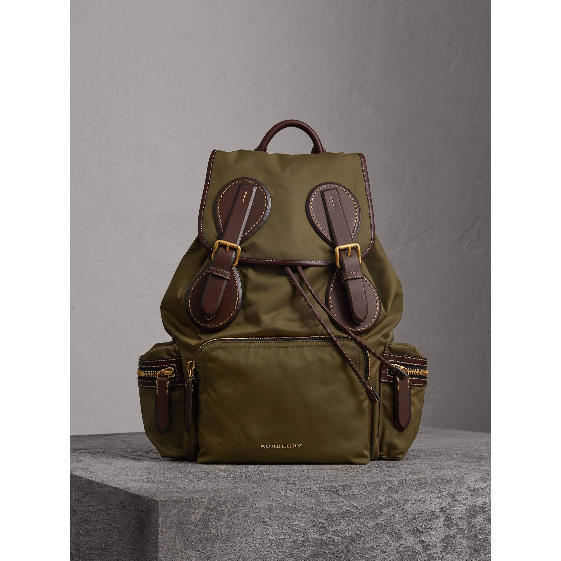 The Large Rucksack in Technical Nylon and Topstitched Leather in Dark Antique Green | Burberry - gallery image 4