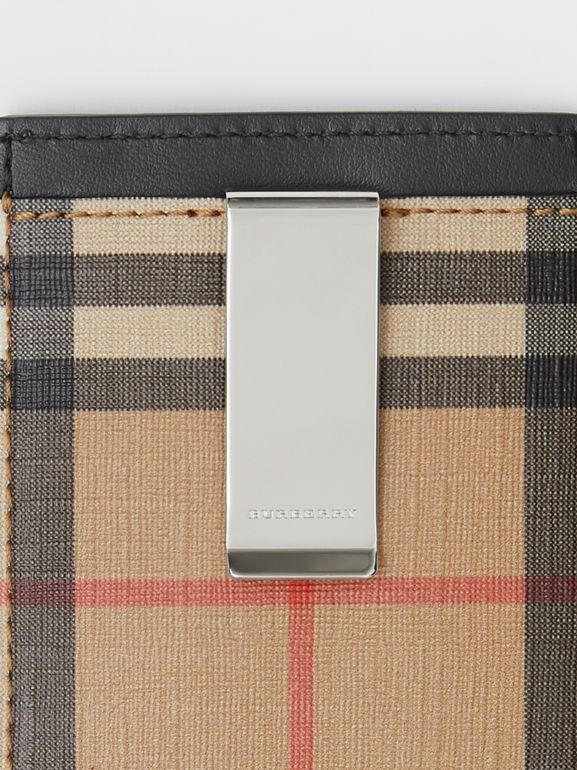Vintage Check and Leather Money Clip Card Case in Archive Beige - Men | Burberry Canada - cell image 1