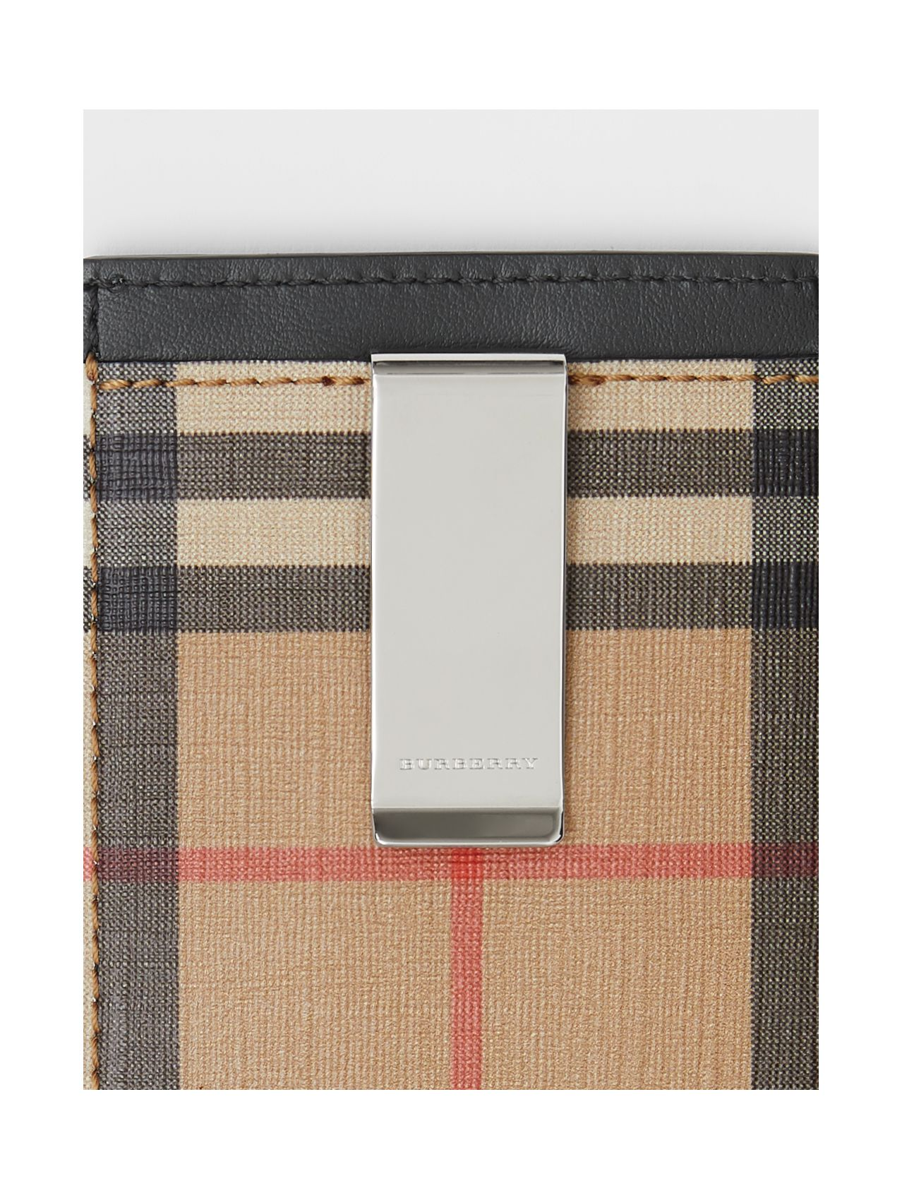 Vintage Check and Leather Money Clip Card Case in Archive Beige