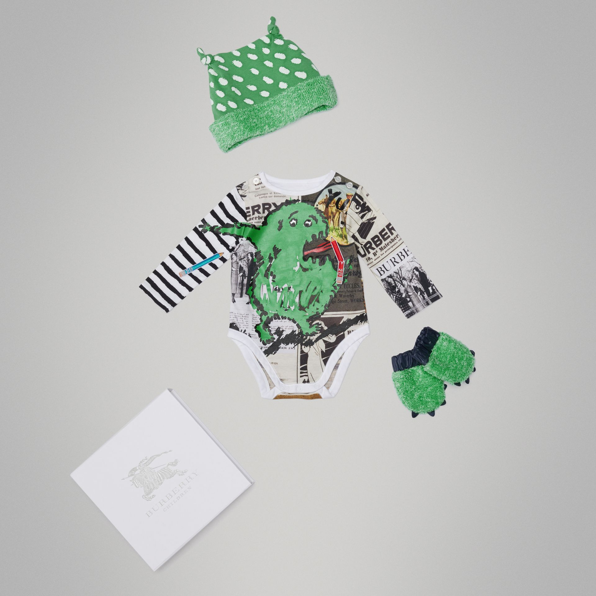 Monster Motif Three-piece Baby Gift Set in Green - Children | Burberry - gallery image 0