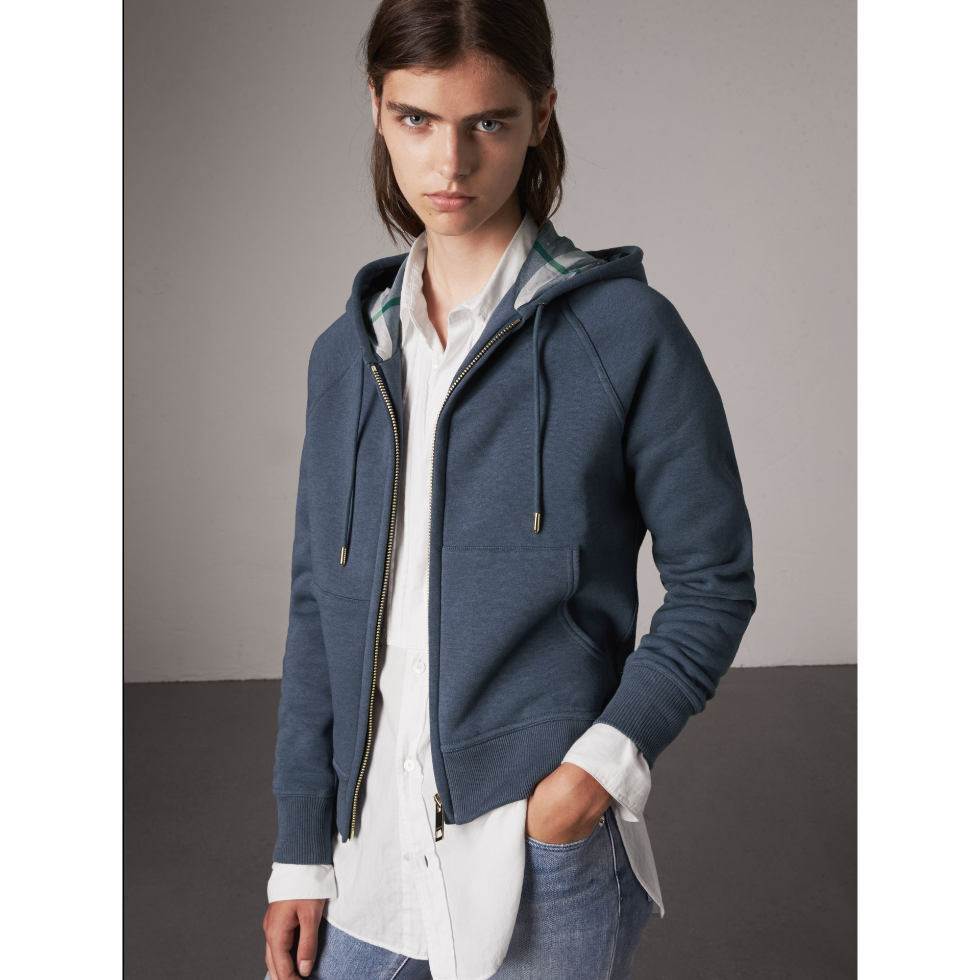 Hooded Cotton Blend Top in Storm Blue - Women | Burberry - gallery image 1