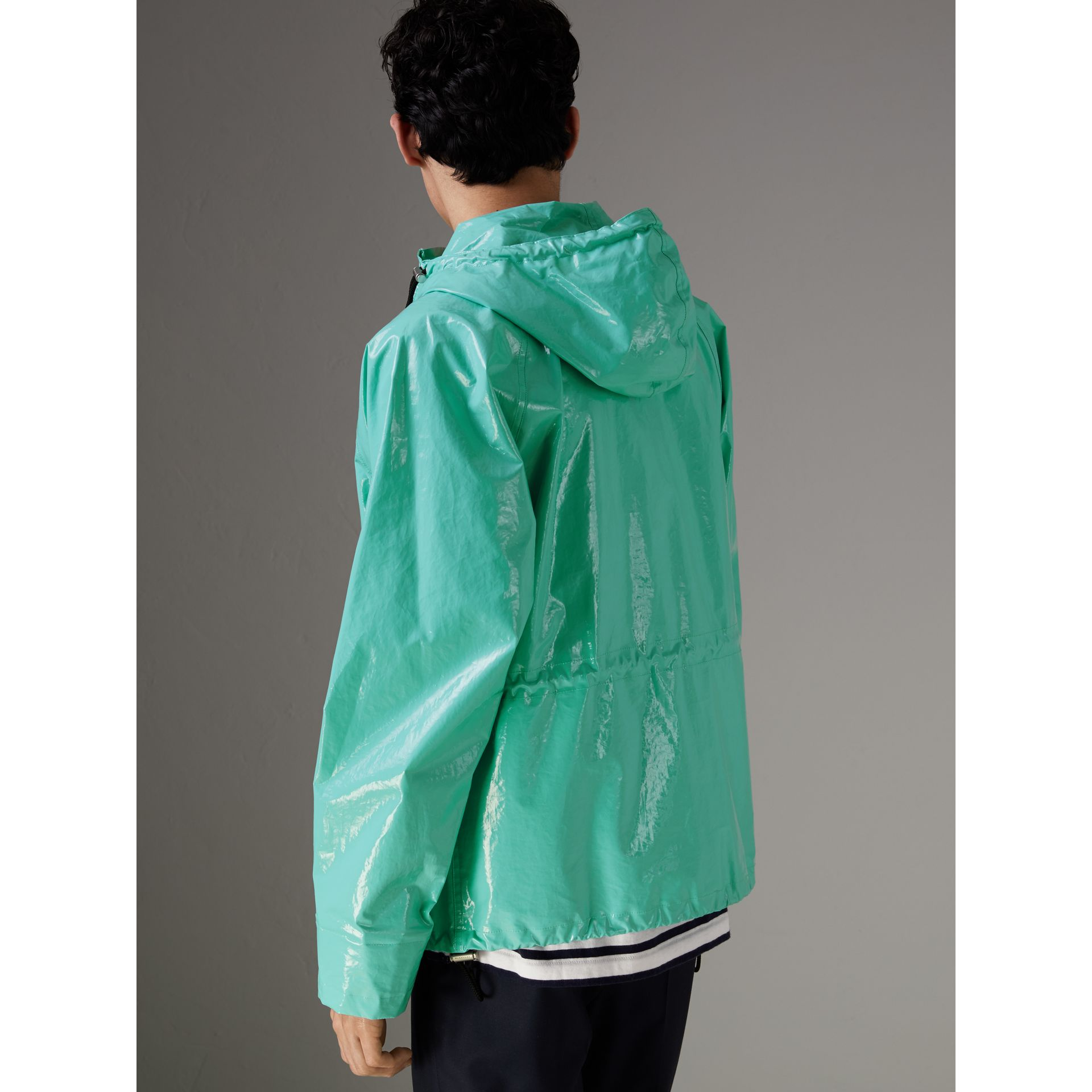 Laminated Cotton Anorak in Aqua Blue - Men | Burberry - gallery image 2