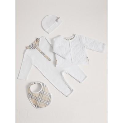 Cotton Four piece Baby Gift Set in White Boy