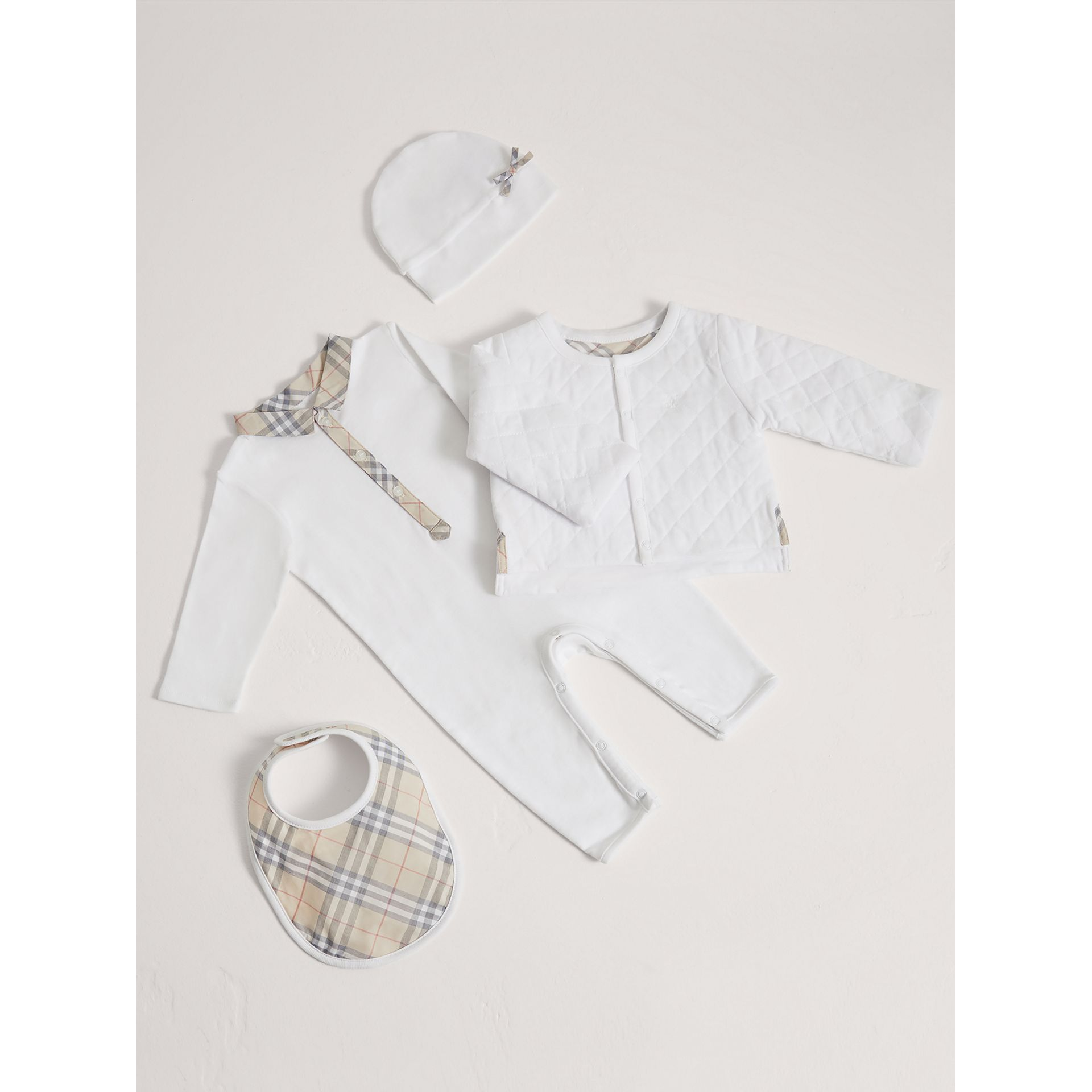 Cotton Four-piece Baby Gift Set in White - Boy | Burberry - gallery image 0