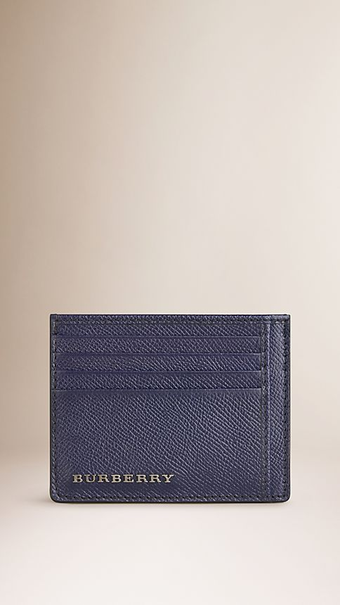 Navy London Leather Card Case - Image 1