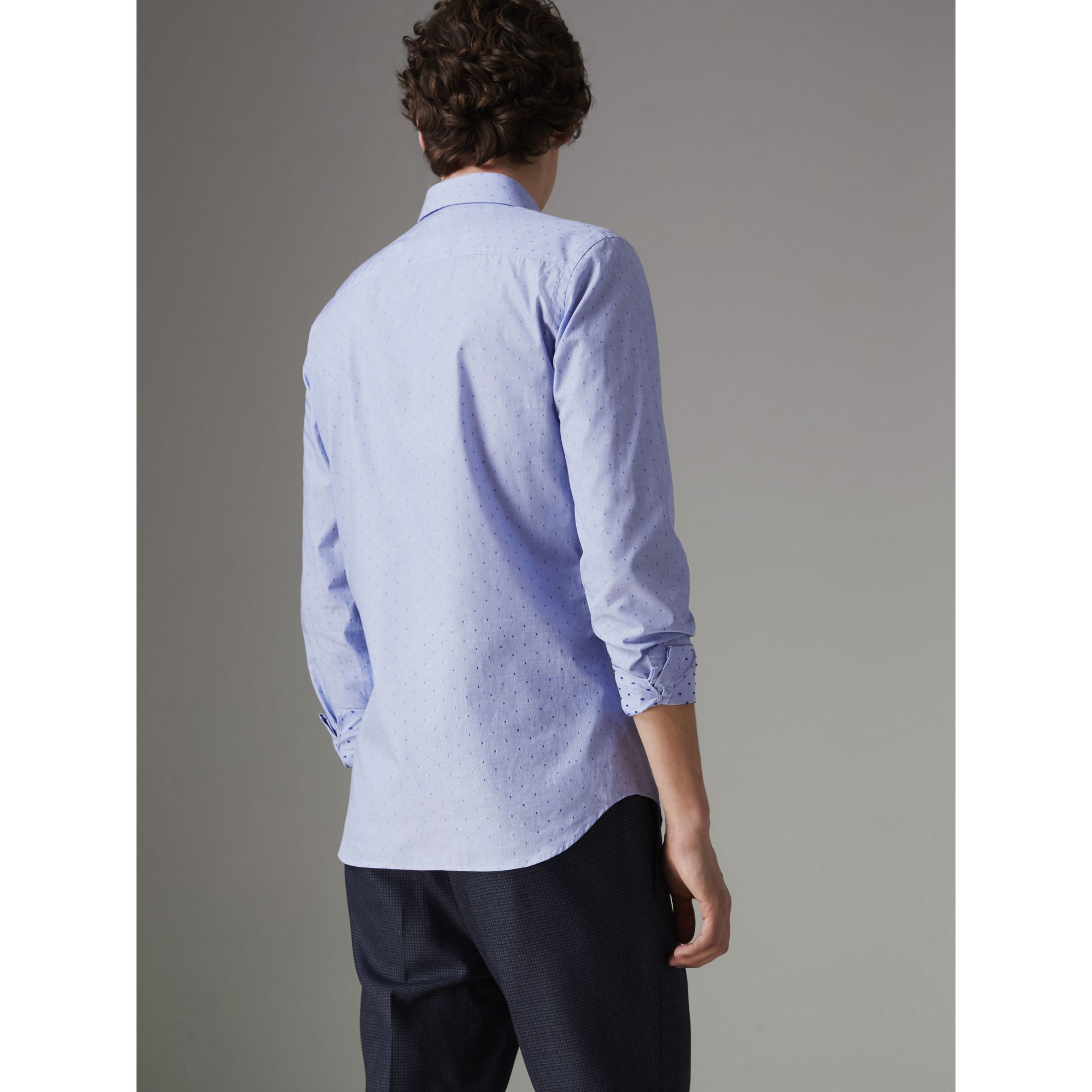 Slim Fit Fil Coupé Cotton Shirt in Light Blue - Men | Burberry Australia - gallery image 2