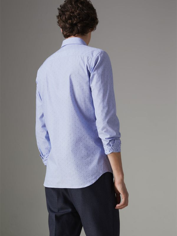 Slim Fit Fil Coupé Cotton Shirt in Light Blue - Men | Burberry Australia - cell image 2