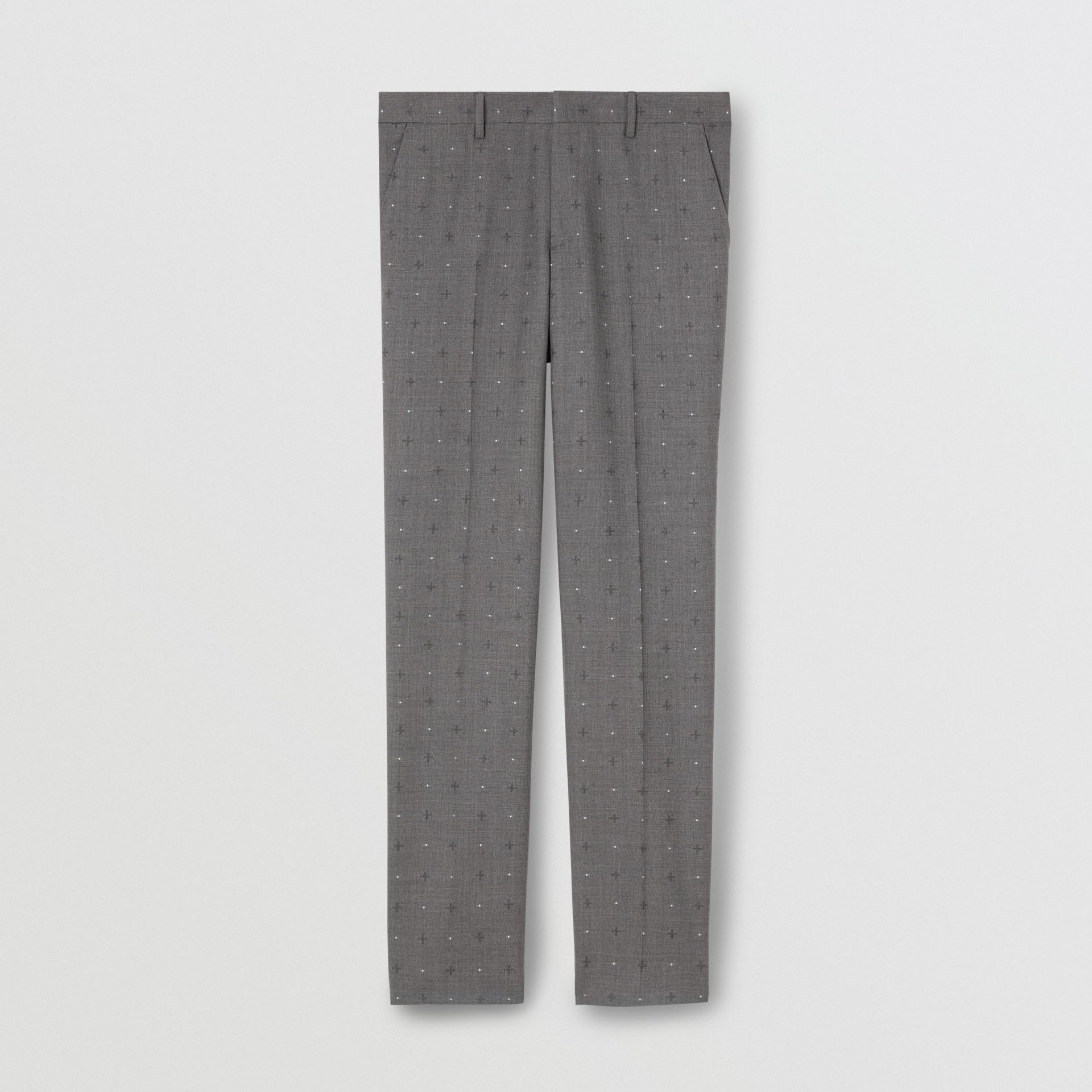 Classic Fit Fil Coupé Wool Cotton Tailored Trousers in Mid Grey Melange - Men | Burberry United Kingdom - gallery image 3