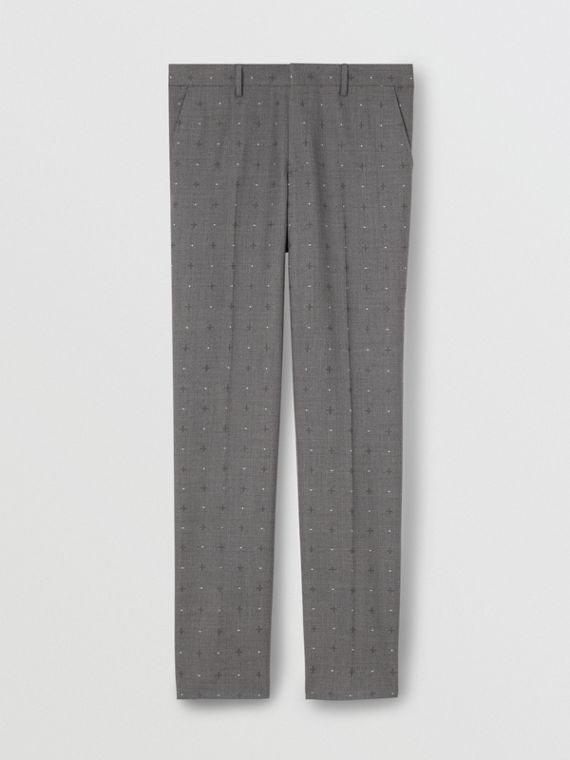 Classic Fit Fil Coupé Wool Cotton Tailored Trousers in Mid Grey Melange
