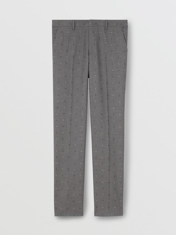 Classic Fit Fil Coupé Wool Cotton Tailored Trousers in Mid Grey Melange - Men | Burberry United Kingdom - cell image 3