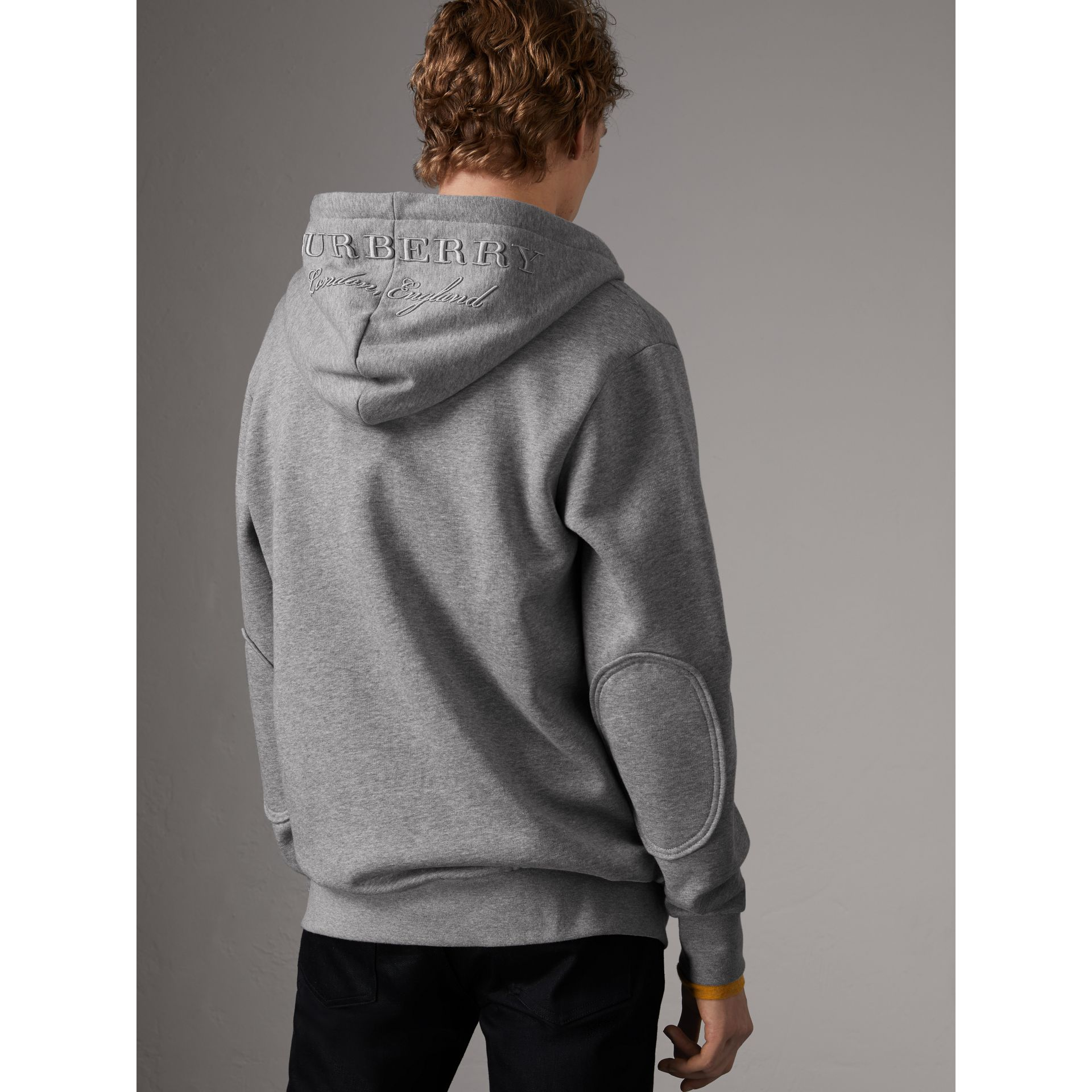 Cotton Jersey Zip-front Hooded Top in Pale Grey Melange - Men | Burberry United Kingdom - gallery image 2