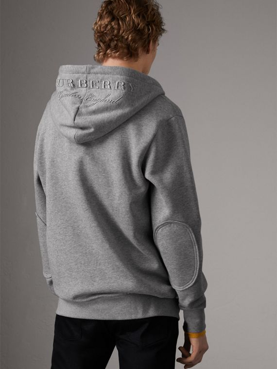 Cotton Jersey Zip-front Hooded Top in Pale Grey Melange