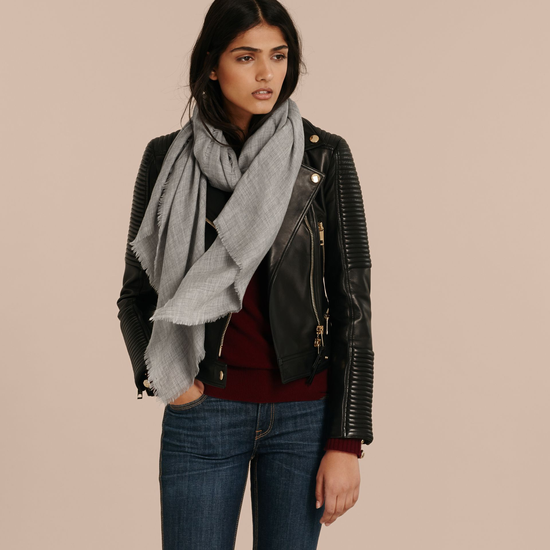 The Lightweight Cashmere Scarf in Pale Grey - gallery image 3