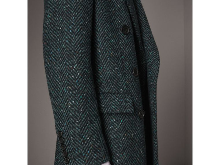 Donegal Herringbone Wool Double-breasted Coat in Dark Navy - Men | Burberry - cell image 4