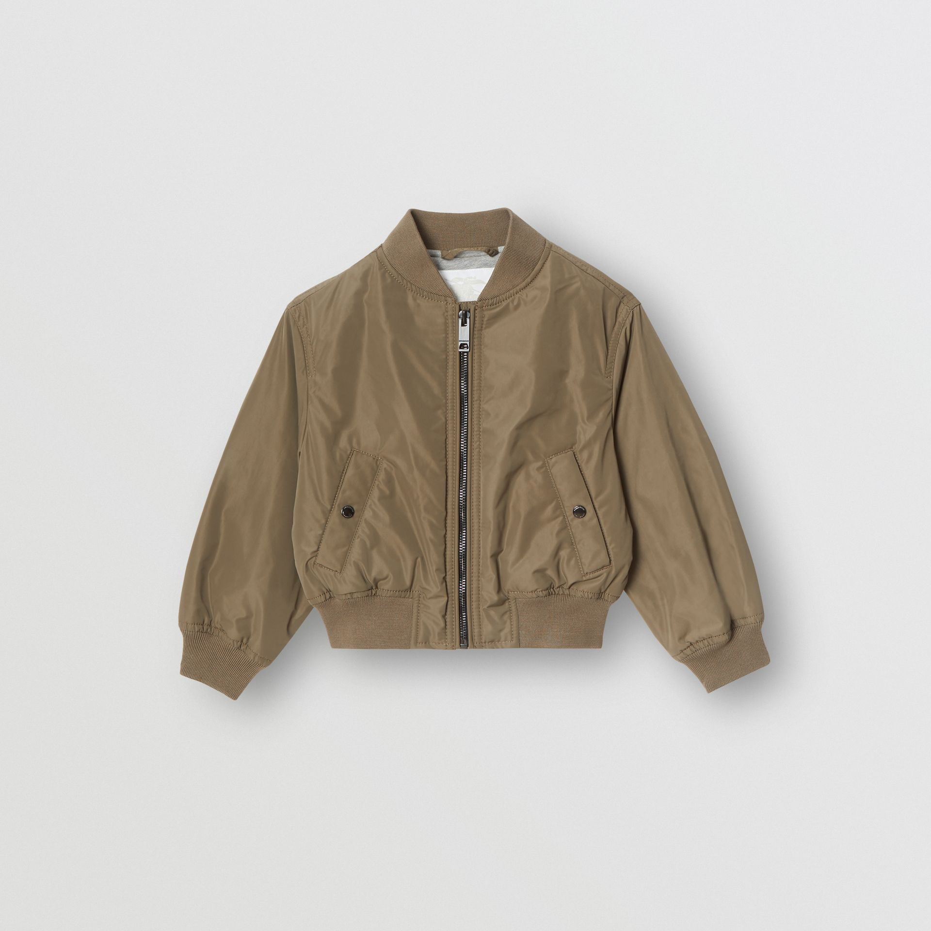 Logo Print Shape-memory Taffeta Bomber Jacket in Khaki | Burberry United Kingdom - gallery image 0
