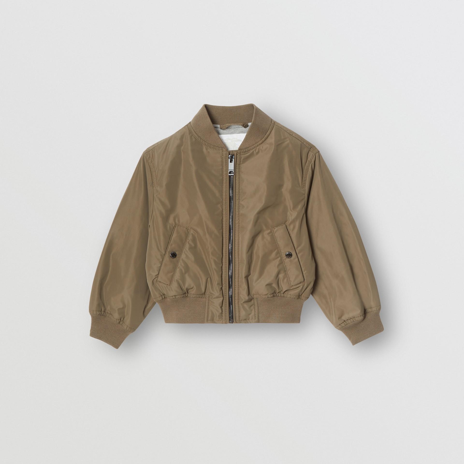 Logo Print Shape-memory Taffeta Bomber Jacket in Khaki | Burberry - gallery image 0