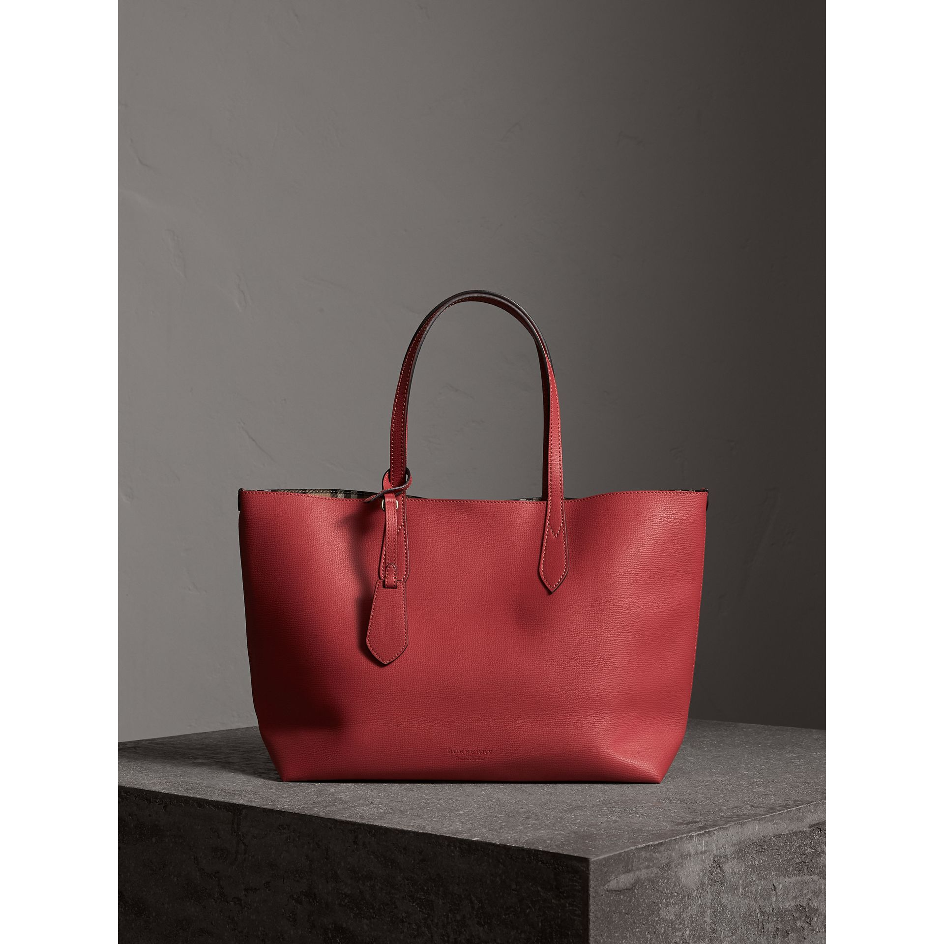 The Medium Reversible Tote in Haymarket Check and Leather in Coral Red - Women | Burberry - gallery image 1