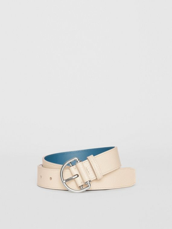 Grainy Leather D-ring Belt in Stone/pewter Blue