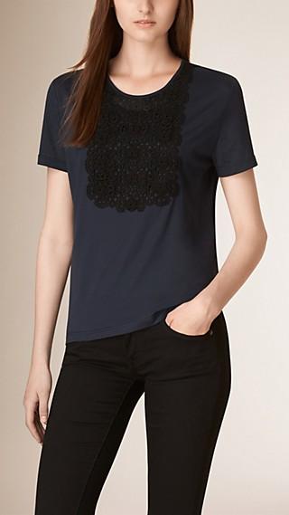 Lace Bib Cotton T-shirt
