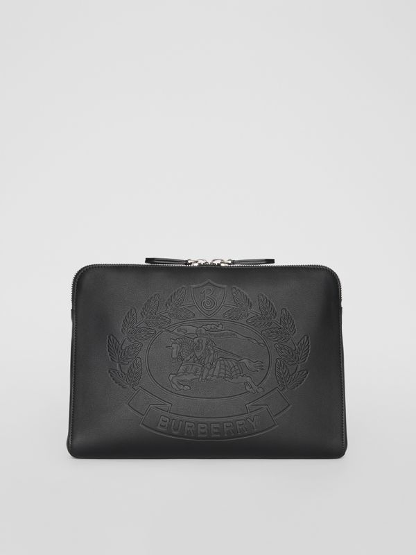 Embossed Crest Leather Document Case in Black - Men | Burberry - cell image 3