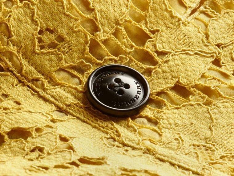 Ruffle Detail Macramé Lace Trench Coat Dandelion - cell image 1