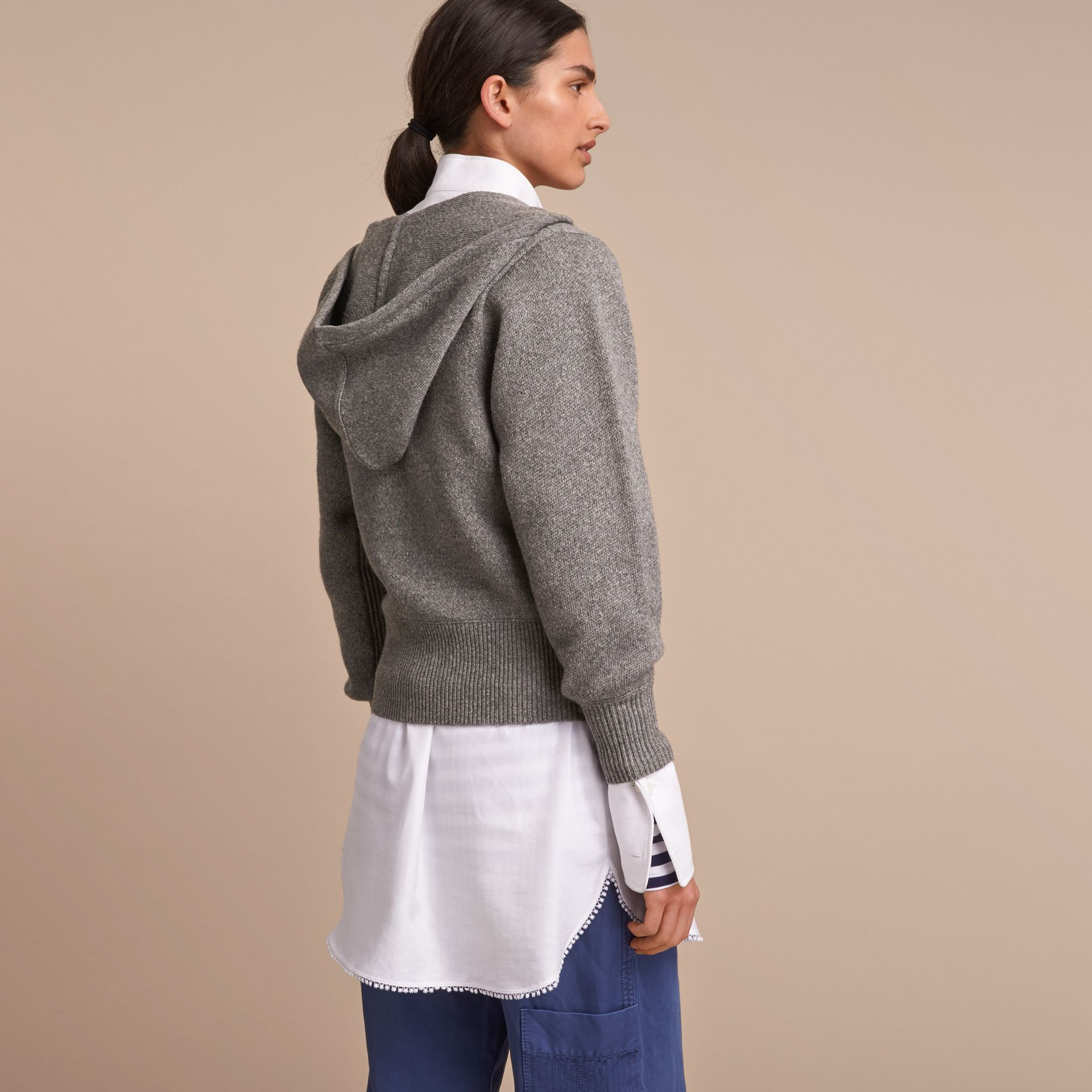 Hooded Pallas Heads Motif Wool Cashmere Top in Mid Grey Melange - Women | Burberry - gallery image 3