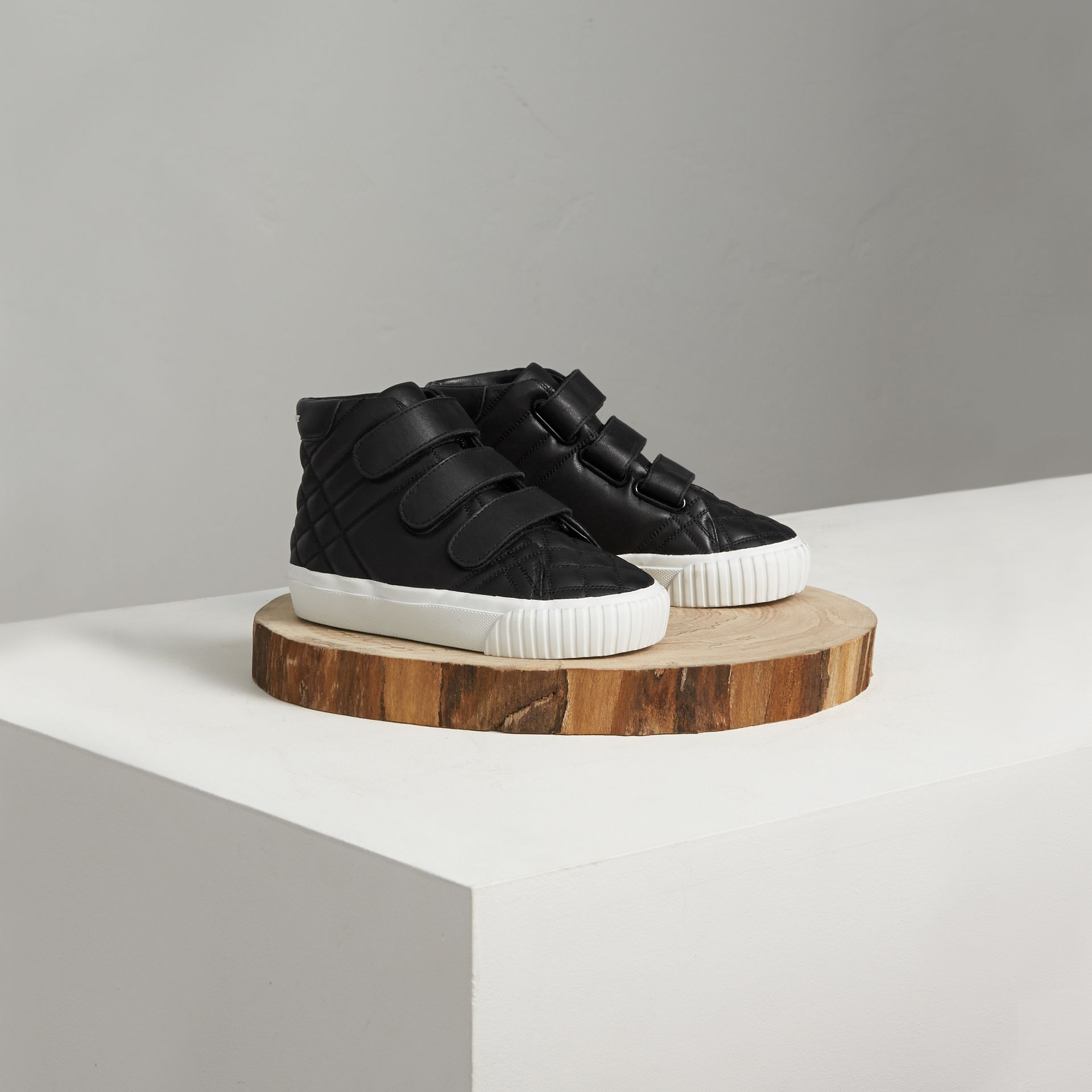 Check-quilted Leather High-top Sneakers in Black - Children | Burberry United States - gallery image 0