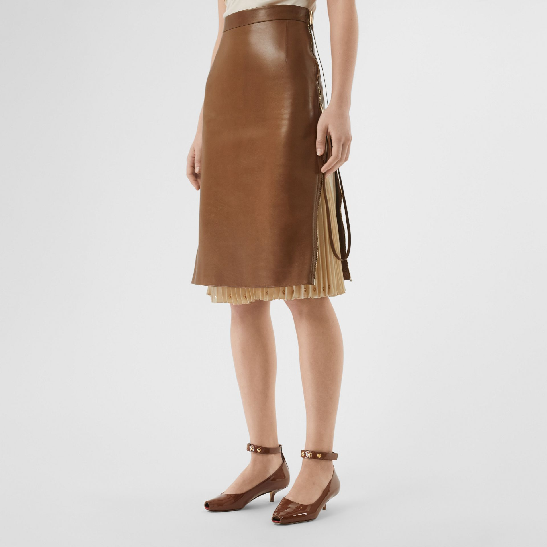 Double Zip Lambskin Skirt in Brown - Women | Burberry United Kingdom - gallery image 4