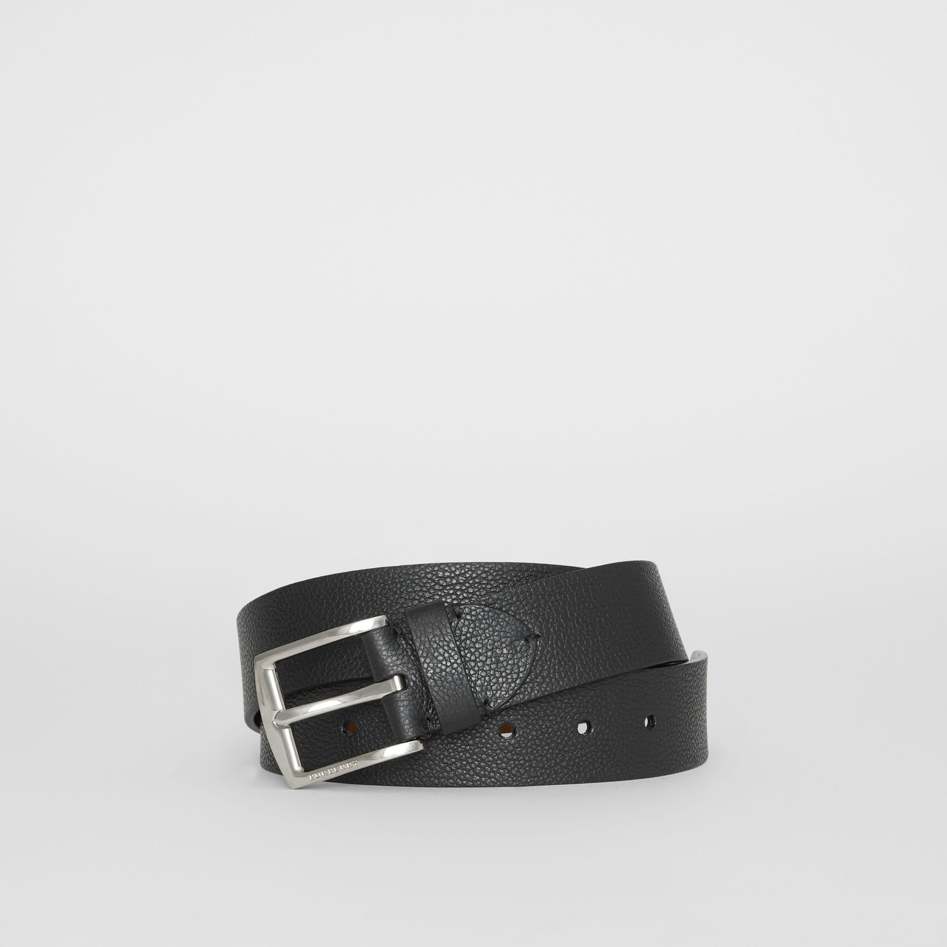 Grainy Leather Belt in Black - Men | Burberry - gallery image 0