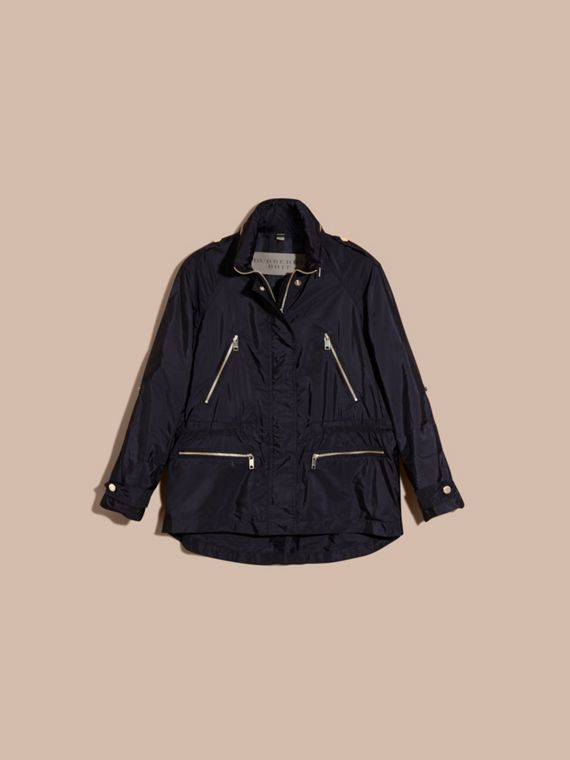 Showerproof Parka Jacket with Packaway Hood Military Navy - cell image 3