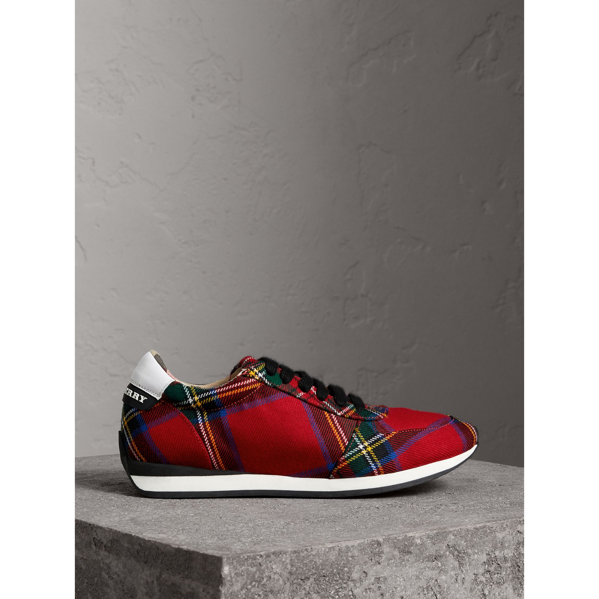Tartan Wool Trainers in Bright Red - Women | Burberry - gallery image 5