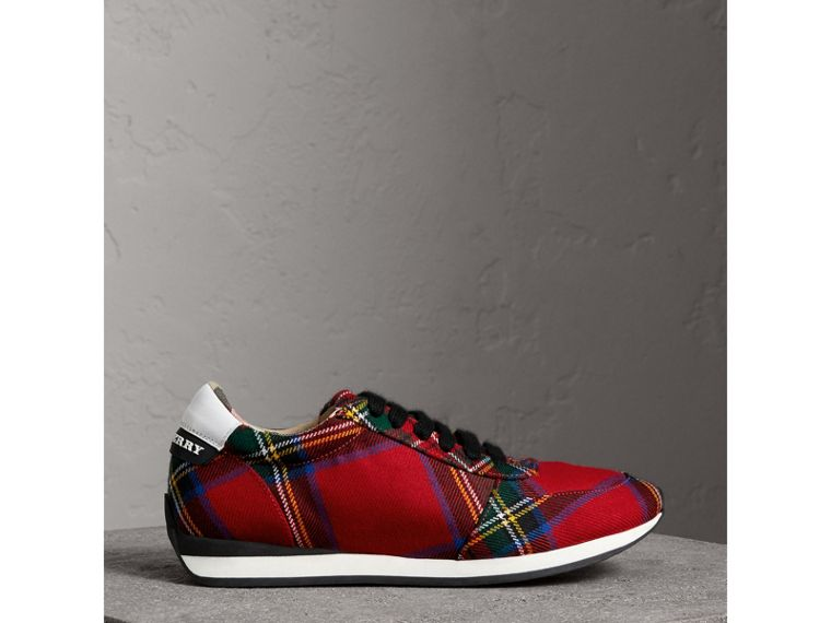 Tartan Wool Trainers in Bright Red - Women | Burberry - cell image 4