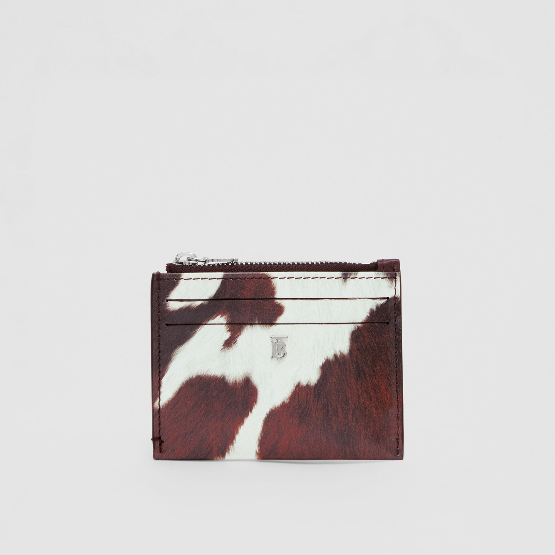 Cow Print Leather Zip Card Case in Mahogany - Women | Burberry - gallery image 2