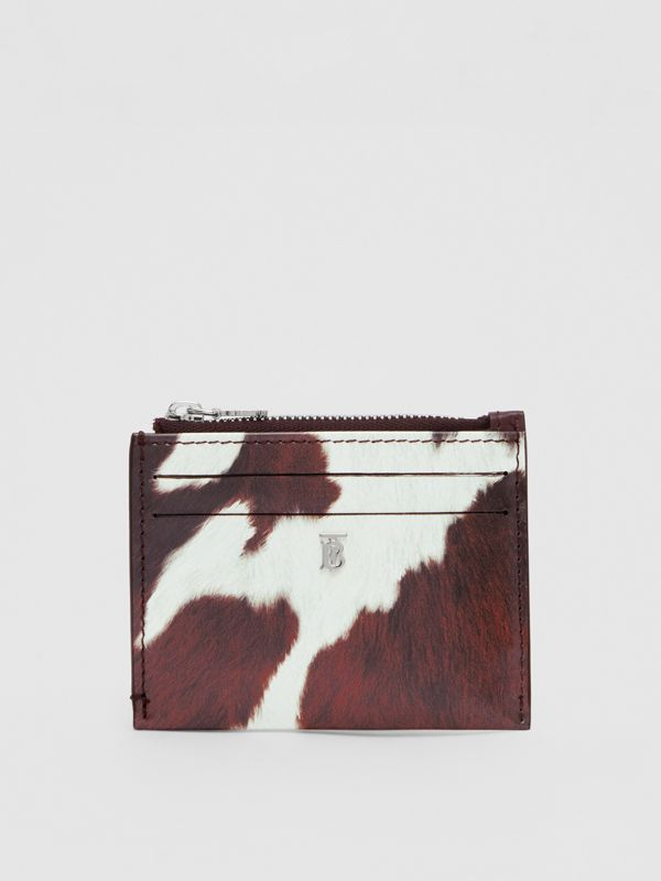 Cow Print Leather Zip Card Case in Mahogany - Women | Burberry - cell image 2