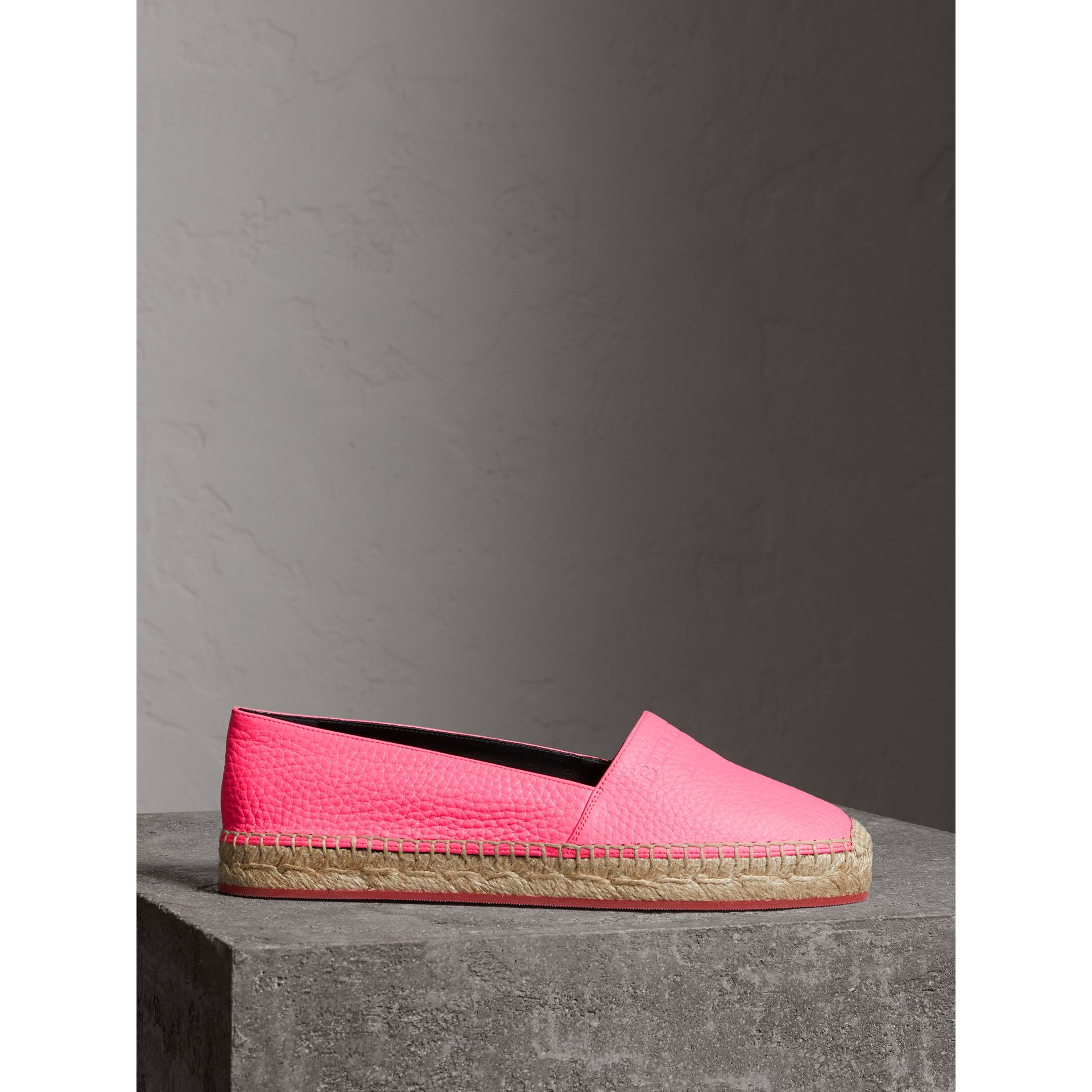 Embossed Grainy Leather Espadrilles in Neon Pink - Women | Burberry Australia - gallery image 4