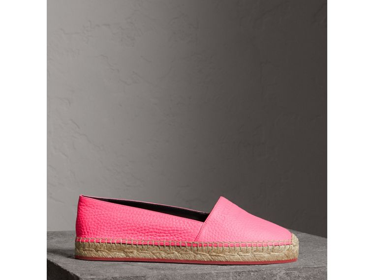 Embossed Grainy Leather Espadrilles in Neon Pink - Women | Burberry - cell image 4