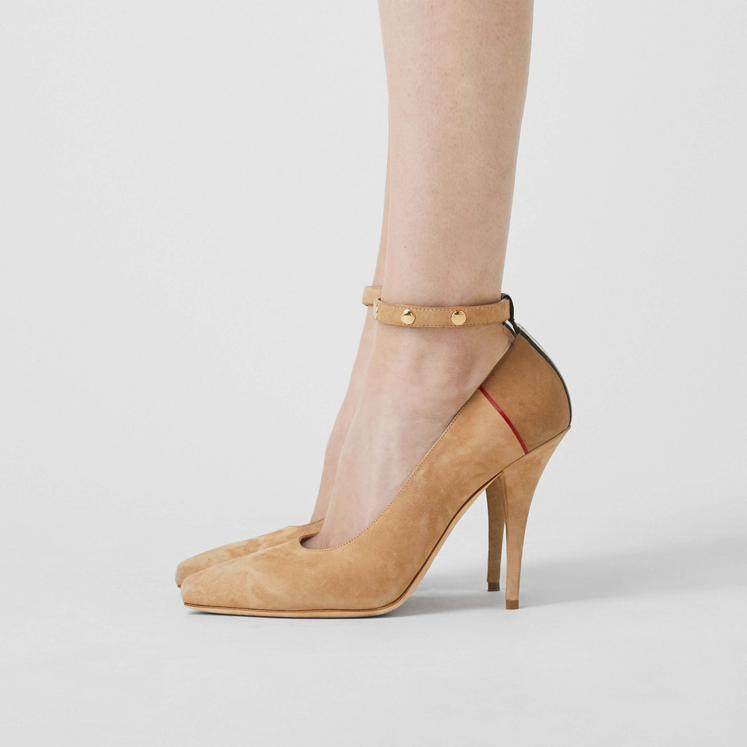 Triple Stud Stripe Detail Suede Point-toe Pumps in Tawny | Burberry - 3