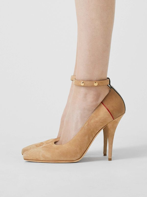 Triple Stud Stripe Detail Suede Point-toe Pumps in Tawny - Women | Burberry - cell image 2