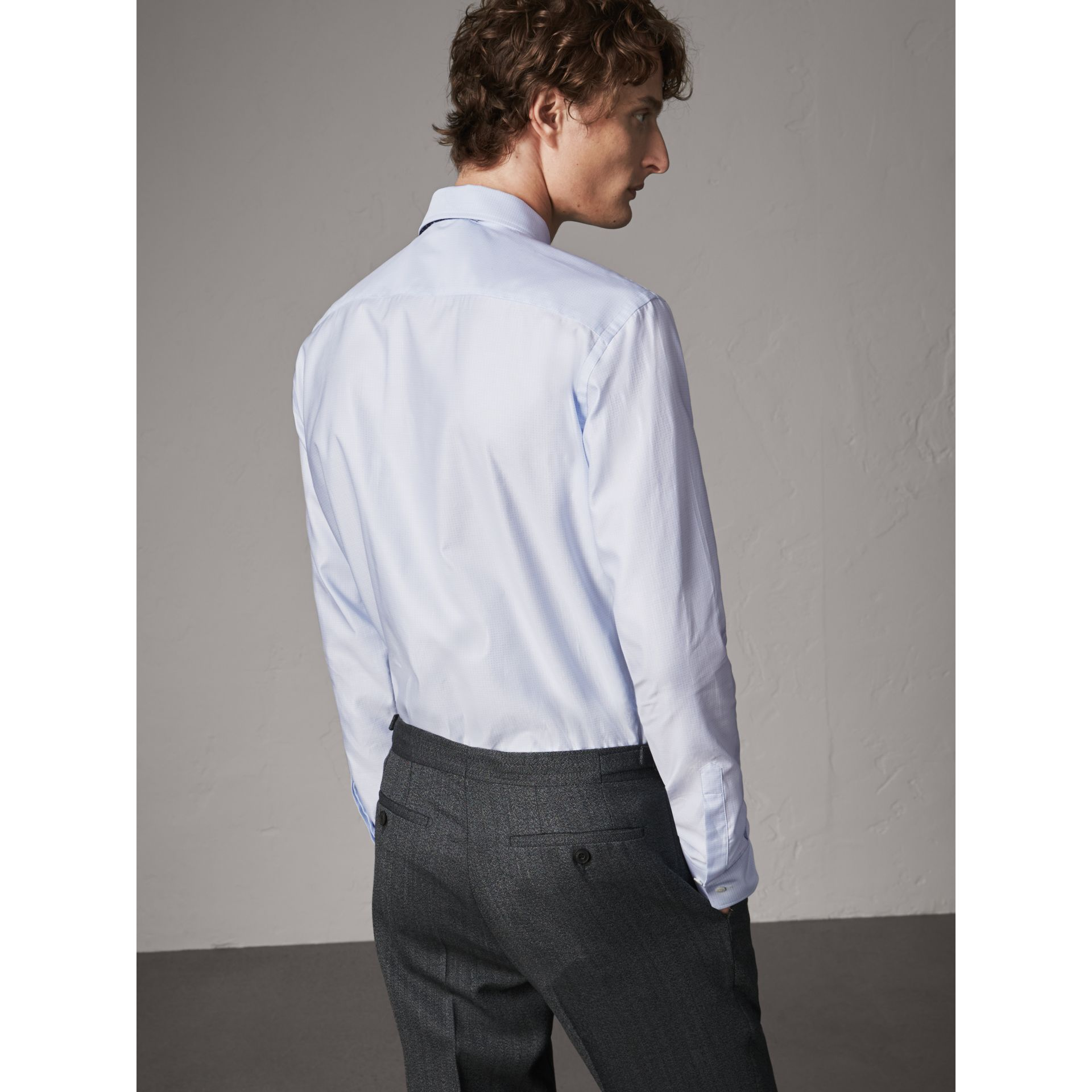 Modern Fit Pin Dot Dobby Cotton Shirt in Light Blue - Men | Burberry - gallery image 3