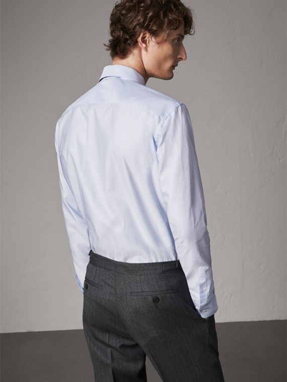 Modern Fit Pin Dot Dobby Cotton Shirt in Light Blue - Men | Burberry - cell image 2