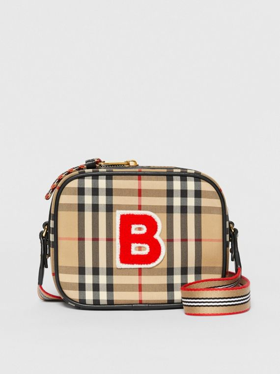Camera bag in ECONYL® con motivo Vintage check (Beige Archivio)