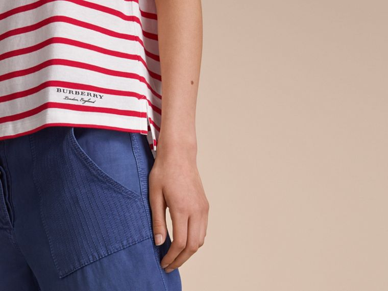 Breton Stripe Cotton T-shirt in Military Red/white - Women | Burberry - cell image 4