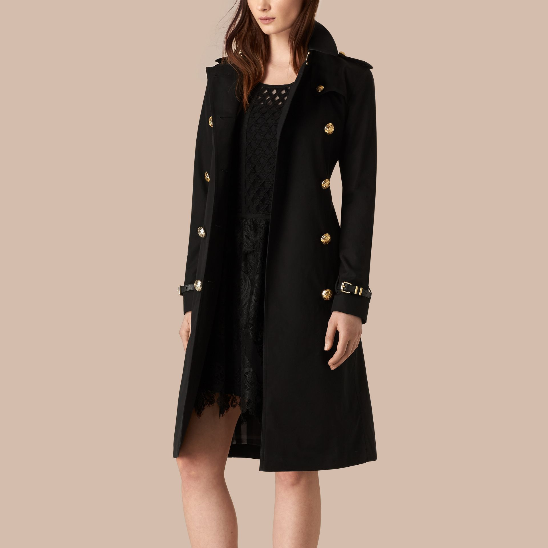 Black Military Button Cotton Gabardine Trench Coat - gallery image 4