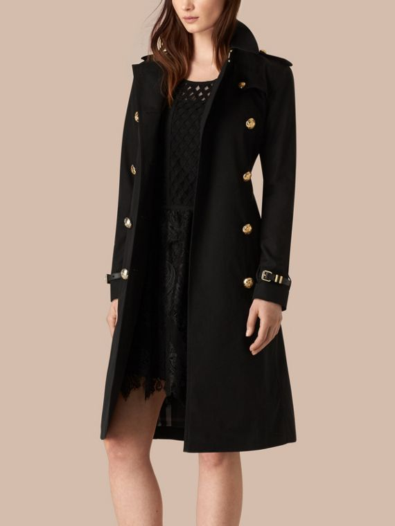 Black Military Button Cotton Gabardine Trench Coat - cell image 3